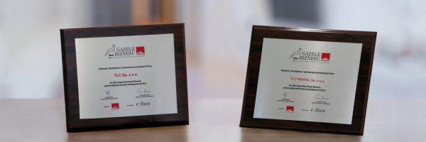 """Pamiątkowy dyplom """"Gazel Biznesu"""" pięknie prezentuje się w siedzibie TLC"""