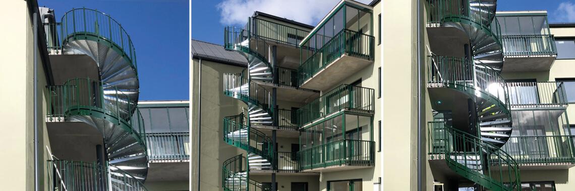 Grönskan, Szwecja. Schody spiralne przy budynku mieszkalnym